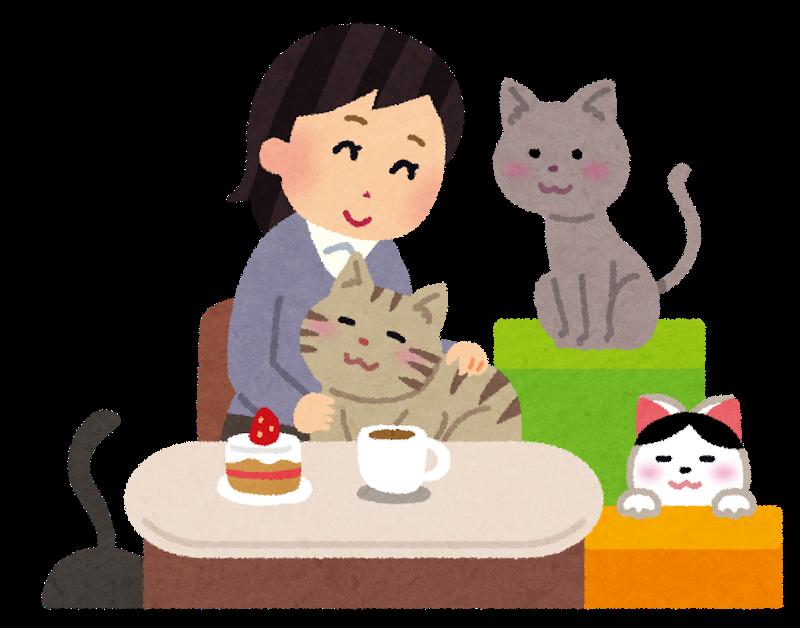 猫カフェで癒されている人のイラスト