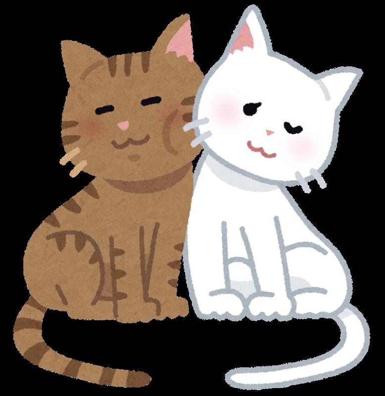 猫のすりすりのイラスト
