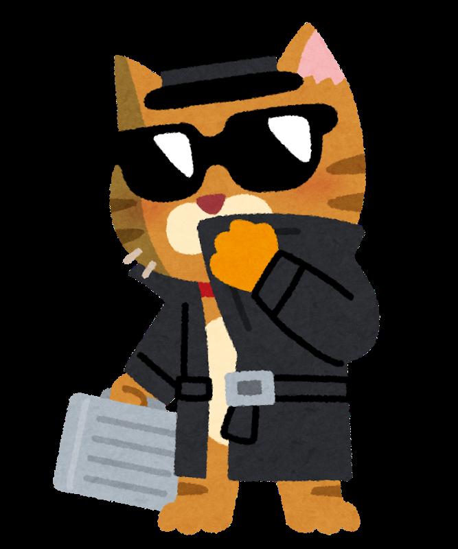 コートにサングラス猫のイラスト