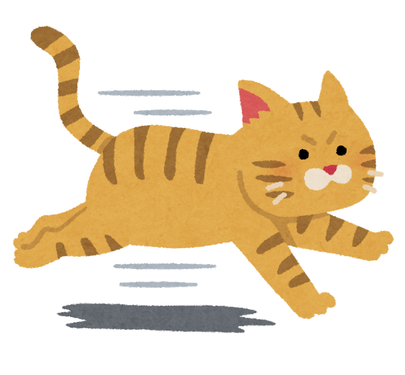 走る猫のイラスト