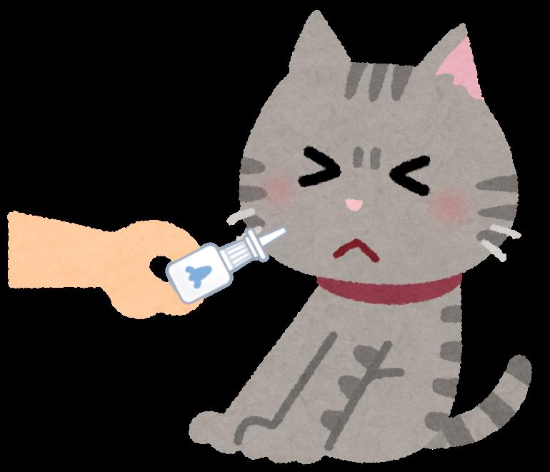 点鼻薬をイヤがる猫のイラスト