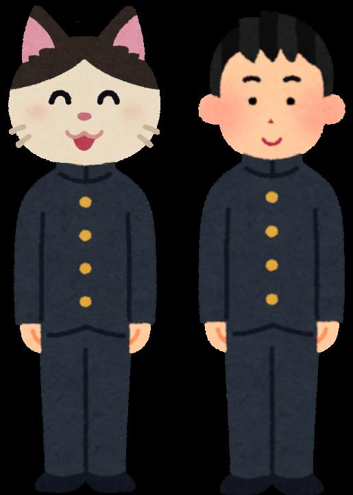 制服を着た猫と男の子のイラスト