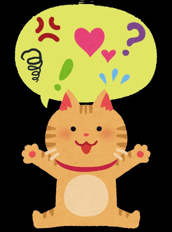 いろんな気持ちを表現している猫のイラスト