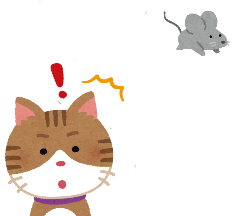 ネズミの足音に気づく猫のイラスト