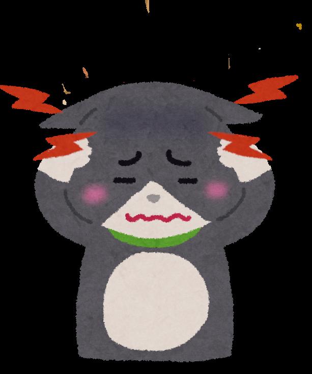 耳の病気になった猫のイラスト