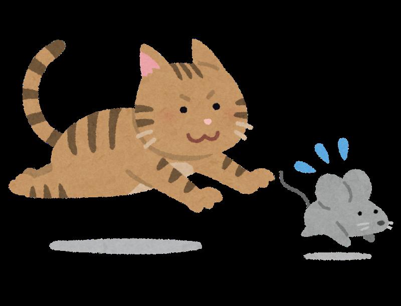ネズミを追いかける猫のイラスト