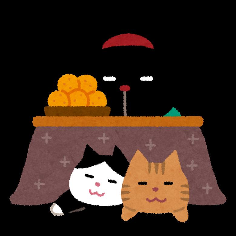コタツで寝ている猫のイラスト