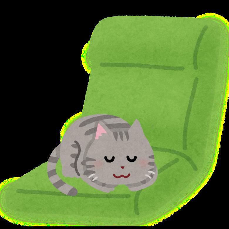 座椅子で寝る猫のイラスト