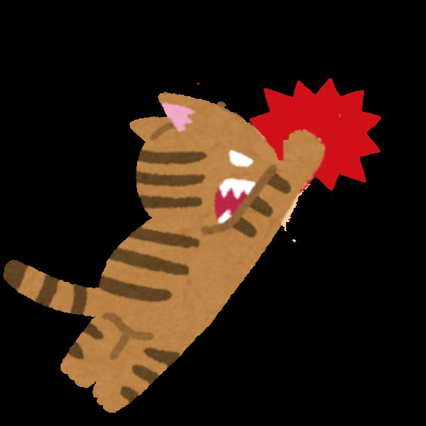 パンチをする猫のイラスト