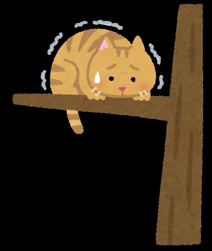 木から降りられない猫のイラスト