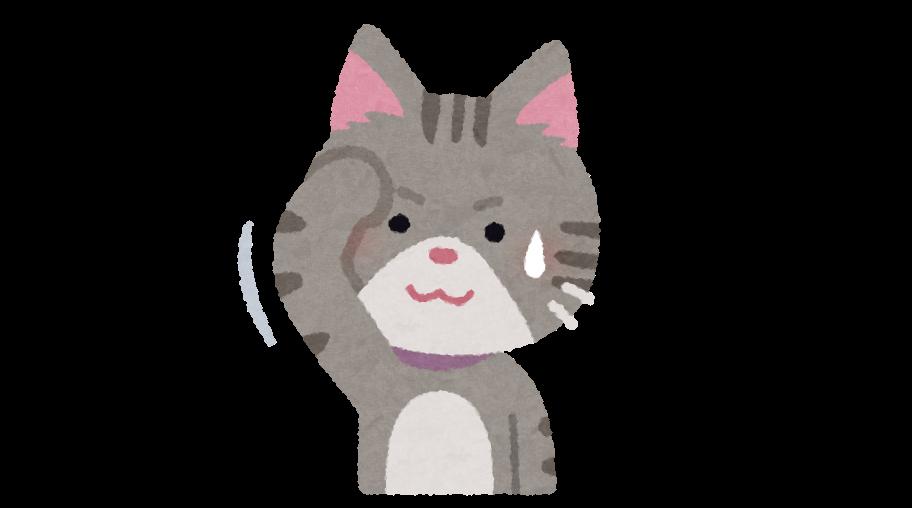 汗をぬぐっている猫のイラスト