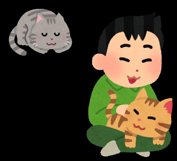 先住猫に気を使うイラスト