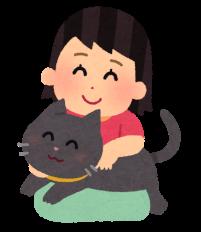 猫を抱っこしている人のイラスト
