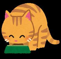 ごはんを食べる猫のイラスト