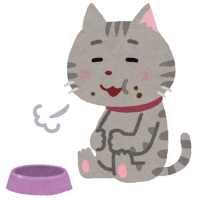 お腹いっぱいの猫のイラスト