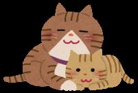 仲のいい親子の猫のイラスト