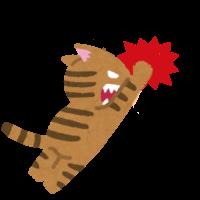 猫パンチを繰り出す猫のイラスト