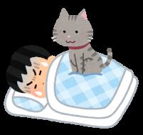 寝てる人の上に乗っている猫のイラスト