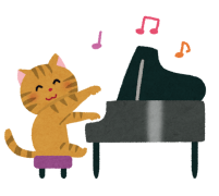 ピアノを弾く猫のイラスト