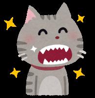 キレイな歯をした猫のイラスト