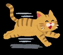 元気に走る猫のイラスト