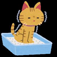 トイレで用を足している猫のイラスト