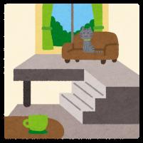 留守番をする猫のイラスト