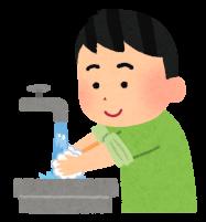 手を洗っている人のイラスト