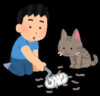 コロコロで猫の抜け毛を取っているイラスト