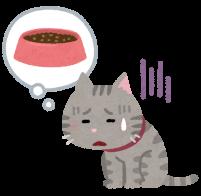フードを食べない猫のイラスト