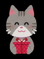 プレゼントを渡す猫のイラスト