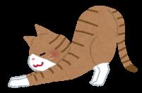 伸びをする猫のイラスト