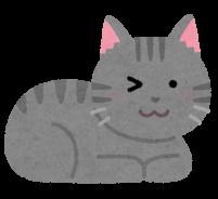 ウインクをする猫のイラスト