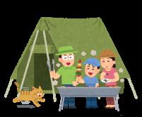 キャンプをする家族と猫のイラスト