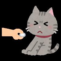 薬をイヤがる猫のイラスト