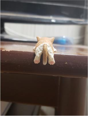 ふちにひっかかる猫のフィギュアの写真2
