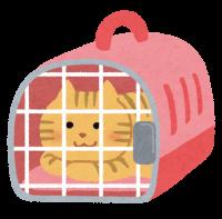 キャリーケースに入っている猫のイラスト