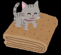 毛布の上に乗る猫のイラスト