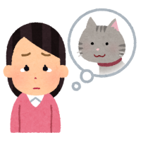 猫の心配をする人のイラスト