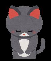 お辞儀をする猫のイラスト
