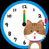 時計と猫のイラスト