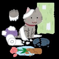 散らかした猫のイラスト