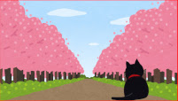桜と猫のイラスト