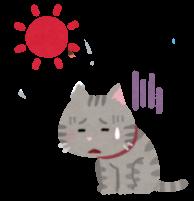 暑さに参っている猫のイラスト
