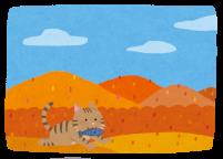秋と猫のイラスト