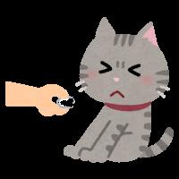 手のニオイを嫌がる猫のイラスト