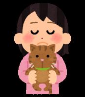 猫を抱きかかえる人のイラスト