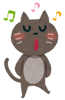 歌う猫のイラスト