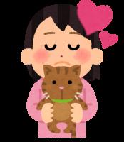 猫に癒される人のイラスト