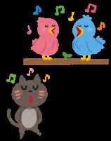 鳥のマネをして歌う猫のイラスト